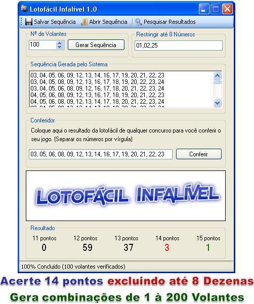 programa para gerar numeros da lotofacil